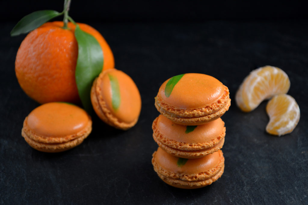 Collection de macarons à la mandarine by Pâtisserie Marc Favalessa.
